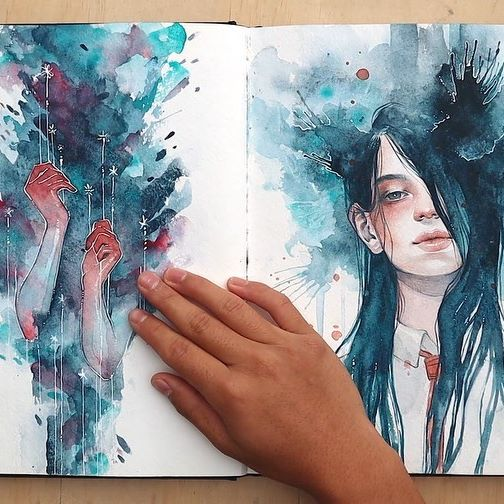 TADAHH! Finally, my completed 2018-19 watercolour sketchbook! You can watch the full  video on my YouTube channel (link on my profile)☺️ 🎵 'Fall Apart' mix by @eisubeats @hangingvalleys . A few years ago I made it a goal of mine to try to complete a sketchbook each year, and I was pretty bummed because in 2018 I ended up falling short of that goal. I ended hardly sketching or doing looser paintings for the past two years because I spent most of my time working on other projects and for shows 😞 So I kinda neglected that goal, but I'd really love to be able to make it a habit again! 👊🏼 #brbchasingdreams #watercolorart #sketchbook #art #drawing #illustration #artstyle #mixedmedia