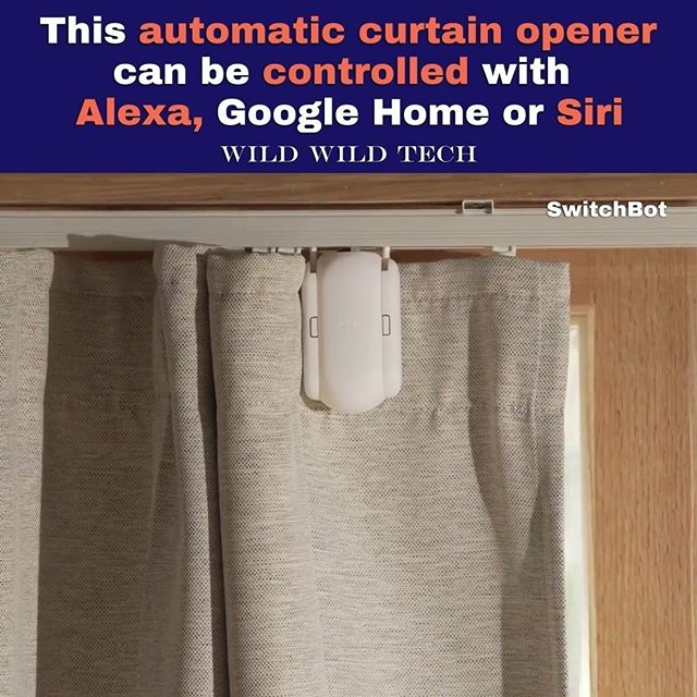 This automatic curtain opener can be controlled with Alexa, Google Home or Siri. (Follow @wildwildtechofficial)  Credit: @theswitchbot  #technology #automation #smarthome #gadget