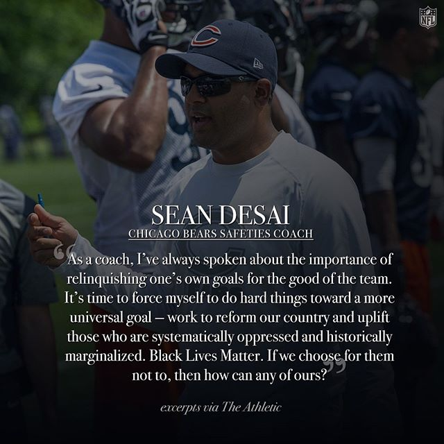@chicagobears safeties coach Sean Desai's call to action. #InspireChange  Read the full op-ed via The Athletic at the link in our bio.