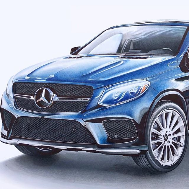 Time for the big reveal. The final result of @katehunt_'s #BestInClass drawing series features a rendering of the GLE Coupe in Brilliant Blue metallic coloring. Check out the mirror-mounted LED projector that spotlights the ground with our Silver Star logo - a real feature available on select Mercedes-Benz models. #AMG #GLE #Coupe