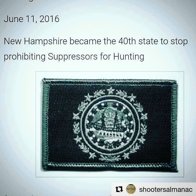 New Hampshire lifted restrictions on suppressors for hunting  June 11, 2016  New Hampshire became the 40th state to stop prohibiting Suppressors for Hunting  #NewHampshire #SuppreasorsForHunting  #2AHistory #2AHistoryProject  #GunHistory #FirearmsHistory #GunCalendar #FirearmHistoryCalendar  @ShootersAlmanac #ShootersAlmanac  www.ShootersAlmanac.com  another 2A History project from @GunWebsites #GunWebsites www.GunWebsites.com