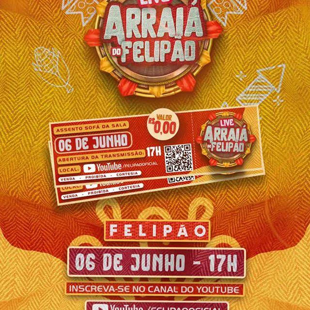 Todos já garantiram o ingresso ? 😅Você não vai nem precisar sair de casa pra curtir esse show, dia 06 de junho às 17h no meu canal no YouTube !🤜🏻🤛🏻 ⠀ ⠀ #Felipao #LiveFelipao #arraiadofelipao