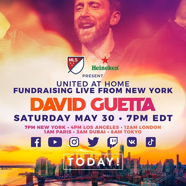 Tonight @davidguetta returns with his second United At Home fundraiser, this time - live from New York City. Tune in from 1am CET / 7pm EDT #unitedathomeNYC