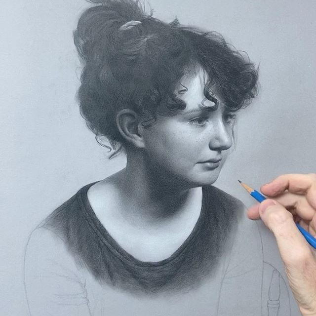 Adding freckles #portraitdrawing #realism #pencildrawing