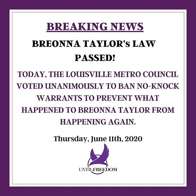 #Repost @untilfreedom ・・・ YOU DID THAT. Louisville Metro Council just voted UNANIMOUSLY to ban No-Knock Warrants so what happened to #BreonnaTaylor never happens again.  Breonna's murder will not be in vain. Her name will be etched in history as someone who inspired and brought systemic change to our communities. Meanwhile, we will continue to fight until Breonna and her family get full justice.  Today, we celebrate, tomorrow we get back to work to get these cops fired, arrested, charged and convicted. ✊🏾