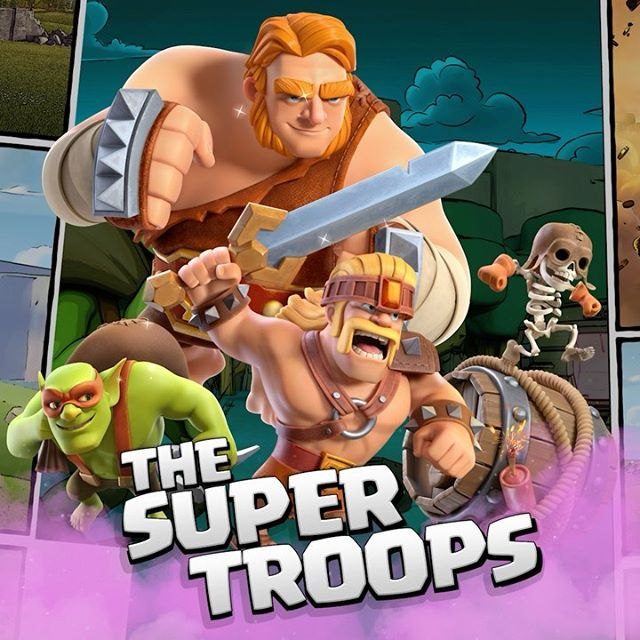 Time to power up your troops into village-wrecking SUPER TROOPS! Update available now! 🎉 #supertroops #clashofclans #clashon #clash #coc #supergiant #superwallbreaker #sneakygoblin #superbarbarian #newupdate #waterfall
