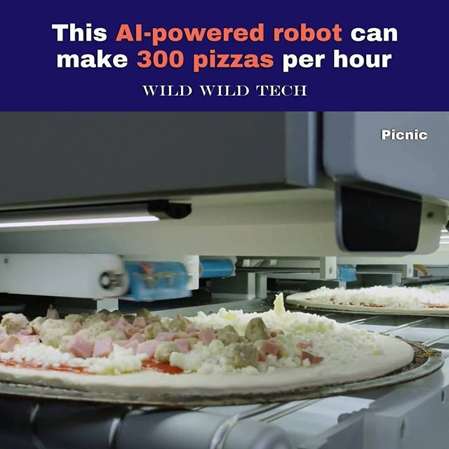 This AI-powered robot can make 300 pizzas per hour. (Follow @wildwildtechofficial)  Credit: @picnicnews  #technology #robotics #food #ai