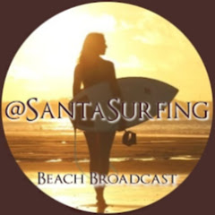 Santa Surfing Beach Broadcast